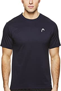 HEAD Men's Crewneck Gym Training & Workout T-Shirt - Short Sleeve Activewear Top - Olympus Navy Heather Blue, 2X