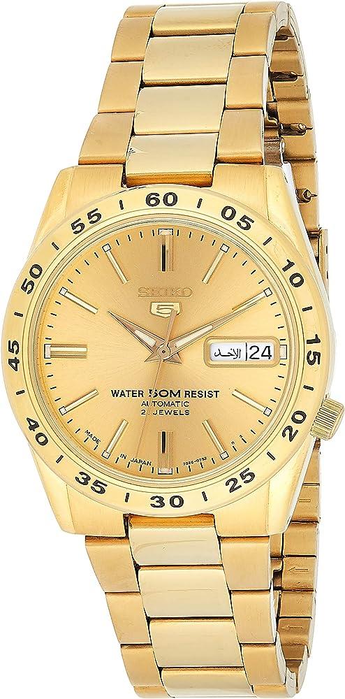 Seiko orologio analogico automatico uomo in acciaio inossidabile dorato SNKE06