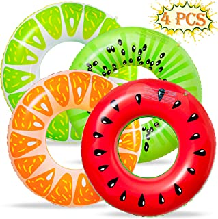 90shine 4PCS Fruit Pool Floats Watermelon Kiwi Orange Lemon Swimming Rings Inflatable Tubes Fun Water Toys for Kids Adults Beach Party Supplies