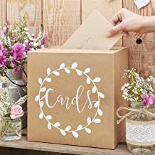 Ginger Ray Sturdy Wedding Day Card Box - Natural Kraft with White Text Post Box - Rustic Country