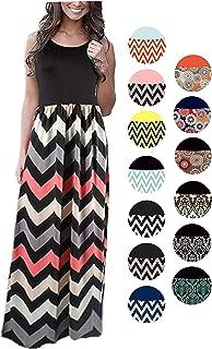Womens Summer Striped Print Loose Maxi Dress Contrast Sleeveless Tank Top Floral Print Long Maxi Dresses for Women