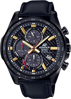 Men's Edifice Stainless Steel Quartz Watch with Leather Strap, Black, 22 (Model: EQS-900CL-1AVCR)