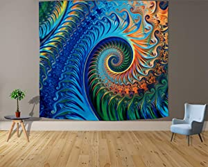 Trippy Psychedelic Tapestry Wall Hanging for Bedroom Hippie Aesthetic Peacock Whirlpool Tapestry Wall Decor Decoration for Living Room Backdrop Dorm c