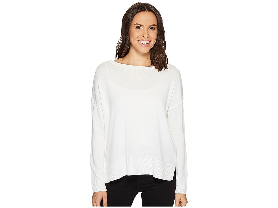 NYDJ Long Sleeve Sweater w/ Exposed Seams (Vanilla) Women