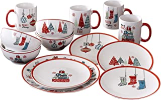American Atelier 7163-16-RB Holiday Christmas Round Dinnerware Set – 16-Piece Stoneware Party Collection w/ 4 Dinner Salad Plates, 4 Bowls & 4 Mugs – Unique Gift Idea, 10.5