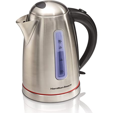 Hamilton Beach Electric Tea Kettle, Water Boiler & Heater, 1.7 L, Cordless, Auto-Shutoff Boil-Dry Protection, Stainless Steel (40988)