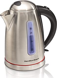 Hamilton Beach 1.7 Liter Electric Kettle for Tea and Hot Water, Cordless, Auto-Shutoff and Boil-Dry Protection, Stainless Steel (40988)