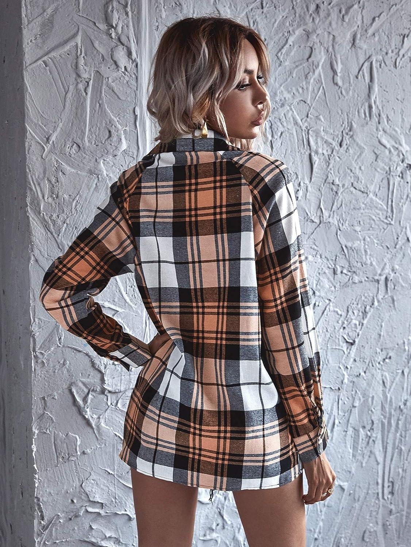 SheIn Women's Plaid Long Sleeve Blouse Button Up Lapel Collar Tunic Tops Shirts