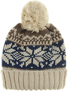 WITHMOONS Knitted Fairs Isle Nordic Bobble Pom Beanie Hat CR5169