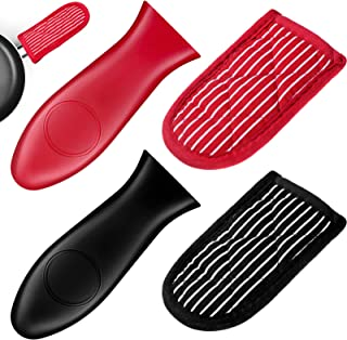 4 Pieces Cotton Striped Cast Iron Skillet Handle Cover and Silicone Hot Handle Holder Pot Handle Sleeve Set for Frying Pan...