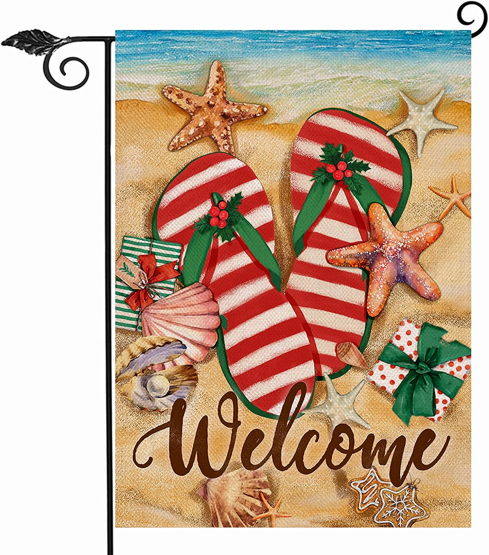 Hzppyz Welcome Christmas Garden Flag Double Sided, Xmas Coastal Flip Flop Beach Starfish Decorative House Yard Outdoor Small Flag, Winter Holiday Ocean Sea Nautical Decor Home Outside Decoration 12x18