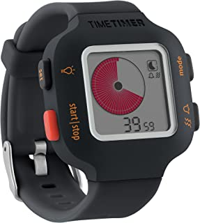 Time Timer Watch Plus (Charcoal), Visual Timer (Repeatable), Clock (Analog and Digital in 12 or 24 Hour), Alarm, Size Small