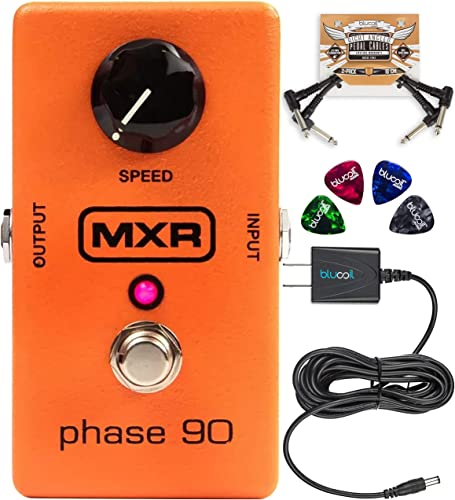 popular MXR M101 Phase 90 Phaser Pedal Bundle online high quality with Blucoil Slim 9V 670ma Power Supply AC Adapter, 2-Pack of Pedal Patch Cables, and 4-Pack of Celluloid Guitar Picks outlet online sale