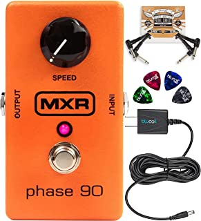 MXR M101 Phase 90 Phaser Pedal Bundle with Blucoil Slim 9V 670ma Power Supply AC Adapter, 2-Pack of Pedal Patch Cables, and 4-Pack of Celluloid Guitar Picks