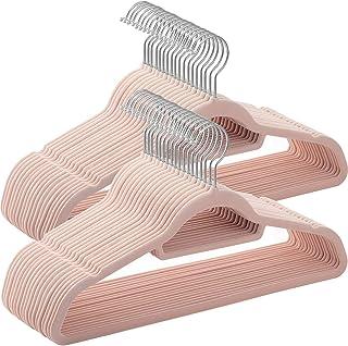SONGMICS Perchas de Terciopelo Paquete de 50 Antideslizantes 0.6 cm Espesor Espacio Mínimo Ganchos Giratorios de 360°...