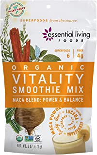 Essential Living Foods Organic Vitality Maca Blend Smoothie Mix, With Ashwagandha, Cordy-Gen, Mesquite, Lucuma, Adaptogen,...