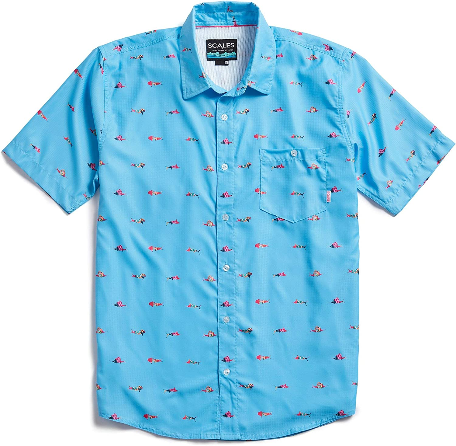 Scales Men's Trippy Fish Button Down Shirt in Powder Blue