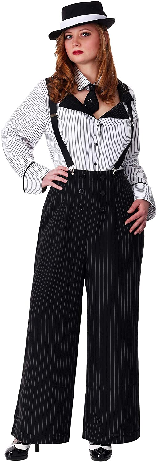 Gangster Costumes & Outfits   Women's and Men's Womens Plus Size Gangster Costume Plus Size Pinstripe Gangster Outfit for Women  AT vintagedancer.com
