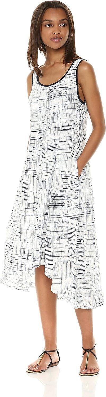 Jones New York Womens Slvlss Printed Linen Hi Lo Hem Dress