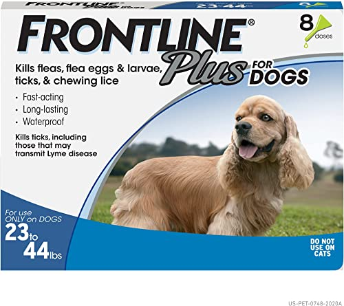 popular FRONTLINE Plus popular outlet sale Flea and Tick Treatment for Dogs (Medium Dog, 23-44 Pounds, 8 Doses) online