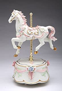 Cosmos Gifts 80039 Fine Porcelain Pink Carousel Horse with Roses Wind Up Music Box Musical Figurine (Music Tune: The Carousel Waltz), 8