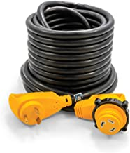Camco 50' PowerGrip Extension Cord with 30M/30F- 90 Degree Locking Adapters | Allows for Easy RV Connection to Distant Power Outlets | Built to Last (55525)