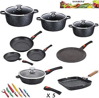 Kamberg - 0008163 - Set Lot Batterie de cuisine 24 pièces - Fonte d'aluminium - Revêtement pierre - Tous feux dont inducti...