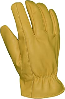 Azusa Safety DS-001 Deer Saver Work Gloves, Synthetic Vegan Leather, Yellow, Medium (1 Pair)