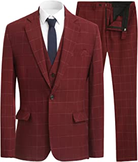 Solovedress Men's Three-Piece Tuxedo Suits Wedding Groomsmen Tuxedo Business Blazer