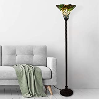 Lavish Home 72-Tiff-8 Tiffany Style Floor Lamp - Leaf Foliage Art Glass Torchiere Lighting LED Bulb Included-Vintage Look Handcrafted Accent Decor, Multicolor