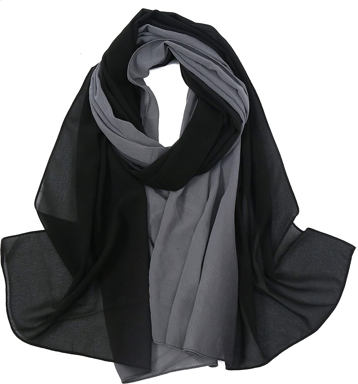 Yeieeo Women Soft Ombre Chiffon Scarf Fashion Long Scarves Shawl Gradient Polyester Hijab