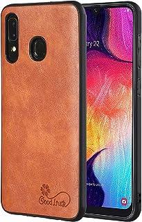 TTNAO kompatibelt med Samsung Galaxy A20s fodral med 1 pack skärmskydd mjukt TPU-material retro dermatoglyph fodral smalt ...