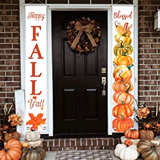 LEVOSHUA Happy Fall Y'all Blessed Harvest Pumpkin Porch Sign, Fall Autumnn Maple Vertical Welcome Sign Banner for Front Door Display, Rustic Thanksgiving Hanging Sign for Home Yard Outdoor Decor