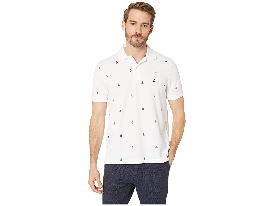 Nautica Short Sleeve Anchor Print Deck Polo (Bright White) Men