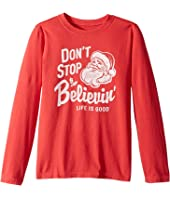Life is Good Kids - Don't Stop Believin' Santa Long Sleeve Crusher Tee (Little Kids/Big Kids)