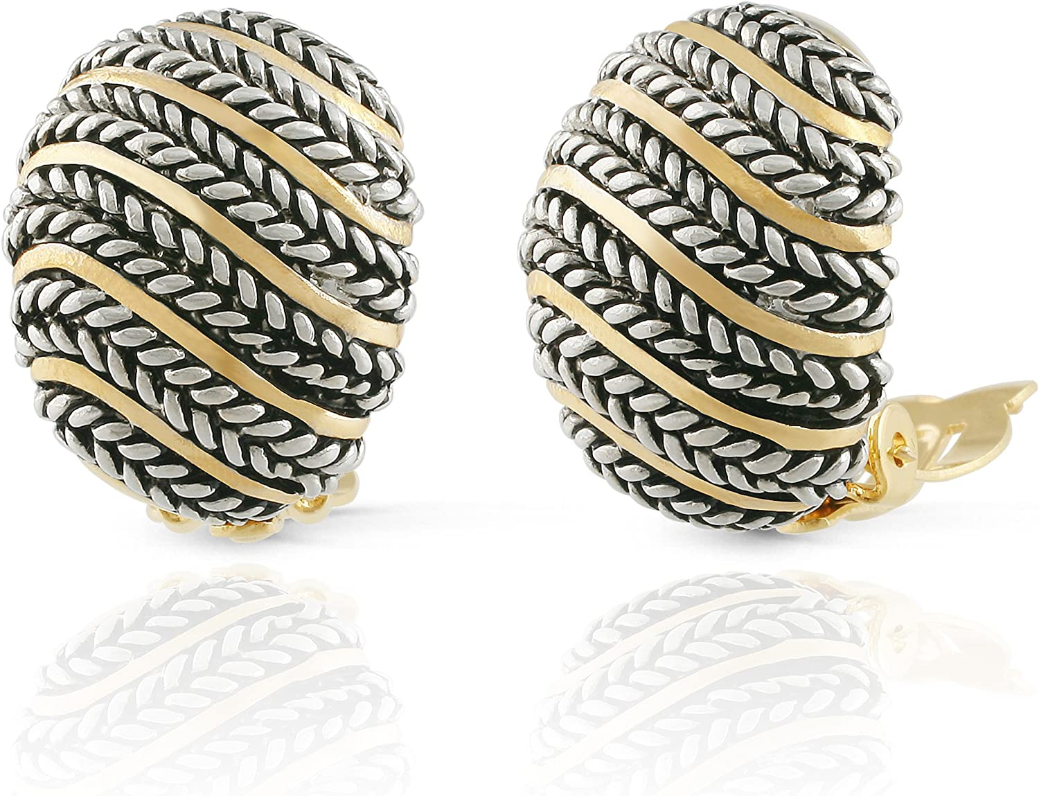 JanKuo Jewelry Two Tone Bali Antique Wave Style Shell Clip On Earrings
