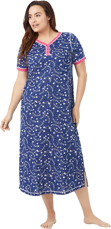 Dreams & Co. Women's Plus Size Long Henley Sleepshirt Nightgown - 18/20, Evening Blue Stars White