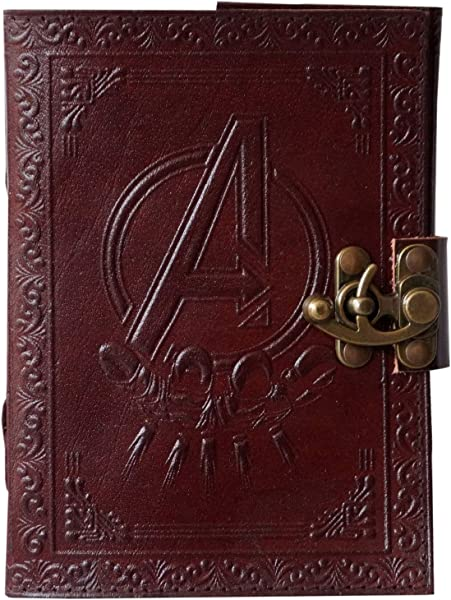 Avengers Marvels Logo Embossed Diary C Lock Notebook Sketchbook Handmade Leather Diary 7 X 5 Inches