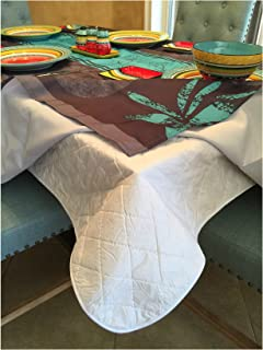 Brilliant Home Design First Quality Quilted Table Protectors - Quilted Dining Table Pad with Flannel Backed for More Protection (60 Round)