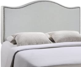 Modway Curl Linen Fabric Upholstered King Headboard with Nailhead Trim and Curved Shape in Gray