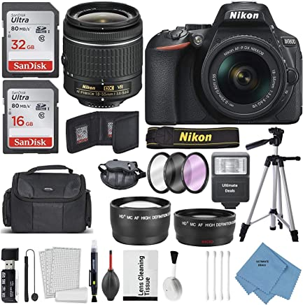$639 Get Nikon D5600 DSLR Camera and 18-55mm Lens Kit W/Total of 48 GB Memory Card + Telephoto & Wideangle Lens + Ultimate Lens Handling Accessories + Bundle
