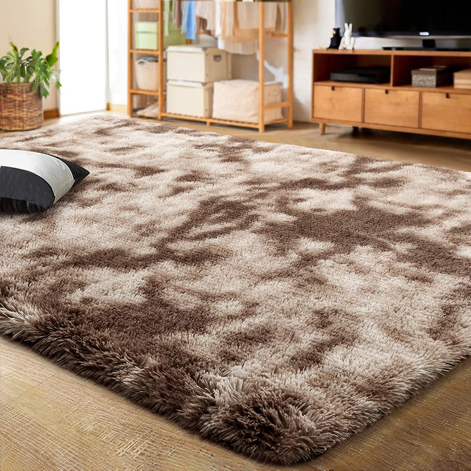 LOCHAS Luxury Velvet Shag Area Rug Modern Indoor Fluffy Rugs, Extra Comfy and Soft Carpet, Abstract Accent Rugs for Bedroom Living Room Dorm Home Girls Kids, 4x5.9 Feet Brown/Ivory