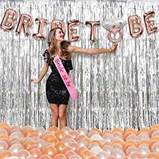 Party Propz Bride to Be Decoration Set 54Pcs with Bride to Be Ring Foil Balloon, Metallic Balloons, Silver Foil Curtain an...