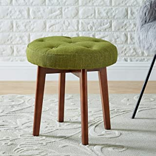 24KF Linen Tufted Round Ottoman with Solid Wood Leg, Upholstered Padded Stool - Lime