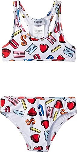 Moschino Kids All Over Logo Heart Print Two-Piece Bathing Suit (Toddler/Little Kids)