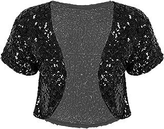 Kaerm Women's Sequin Jacket Short Sleeve Open Front Glitter Cropped Blazer Bolero Shrug Cardigan