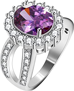 Uloveido المرأة البيضاوي قص زركونيا سبليت عرقوب الدائري الزفاف الخطوبة 4 أشواك هالة إعداد مجوهرات J469