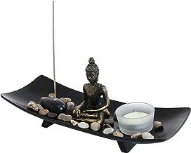 MyGift Zen Garden Buddha Statue with Glass Tealight Candle & Incense Burner Holder, Black