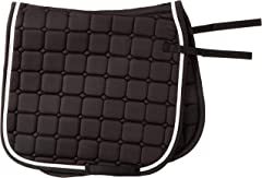 Horse&Passion 914031/11776 Fashion Silla de Montar, Negro, Doble Cordón Blanco, Plata, Talla única