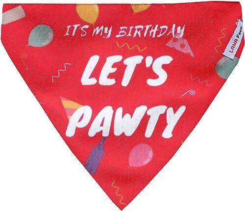 LANA Paws Birthday Dog Bandana (It's My Birthday, Let's Pawty!)/ Dog Scarf/Dog Gift (Adjustable)